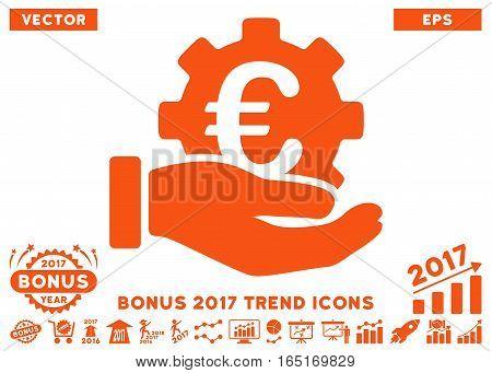 Orange Euro Development Service Hand pictogram with bonus 2017 trend images. Vector illustration style is flat iconic symbols white background.