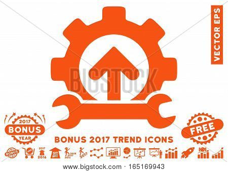 Orange Gear Integration Tools pictogram with bonus 2017 trend pictures. Vector illustration style is flat iconic symbols white background.
