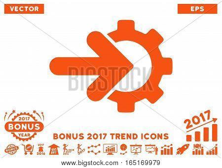 Orange Gear Integration icon with bonus 2017 trend images. Vector illustration style is flat iconic symbols white background.