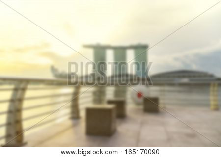 abstract blur of view point on marina bay with sun light filter - can use to display or montage on product