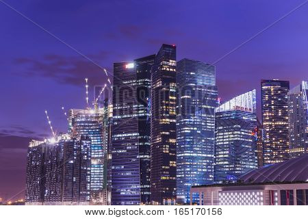 abstract night cityscape with twilight time - can use to display or montage on product