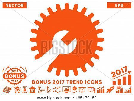 Orange Gear Tools pictograph with bonus 2017 year trend elements. Vector illustration style is flat iconic symbols white background.