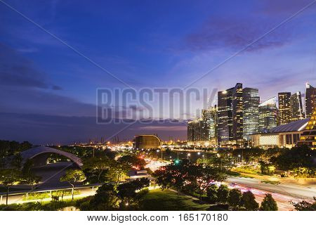 abstract night cityscape of singapore on twilight time - can use to display or montage on product