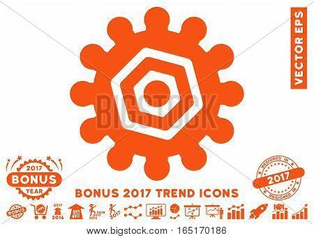 Orange Gear pictograph with bonus 2017 trend design elements. Vector illustration style is flat iconic symbols white background.