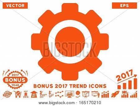 Orange Gear pictograph with bonus 2017 year trend pictures. Vector illustration style is flat iconic symbols white background.