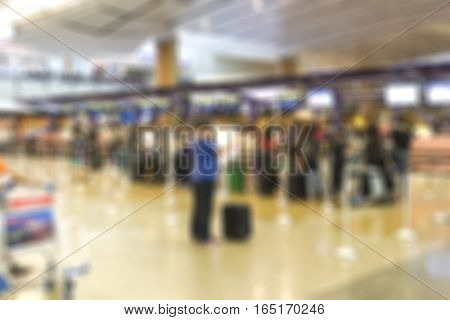abstract blur background of counter checkin at airport - can use to display or montage on product