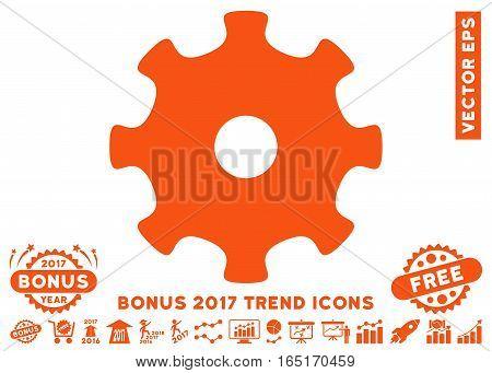 Orange Gear pictogram with bonus 2017 year trend clip art. Vector illustration style is flat iconic symbols white background.