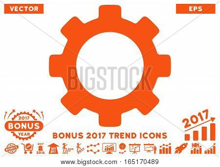 Orange Gear pictogram with bonus 2017 year trend images. Vector illustration style is flat iconic symbols white background.