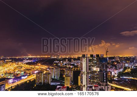 abstract night cityscape on industry zone in singapore with twilight sky - can use to display or montage on product