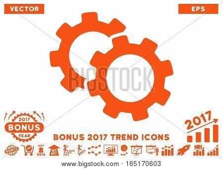 Orange Gears pictograph with bonus 2017 trend elements. Vector illustration style is flat iconic symbols white background.