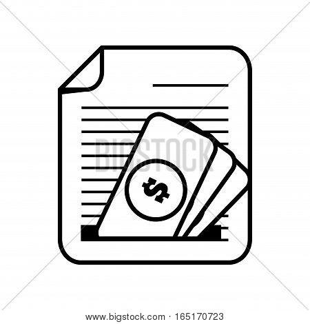 document paper file money bill dollar line vector illustration eps 10