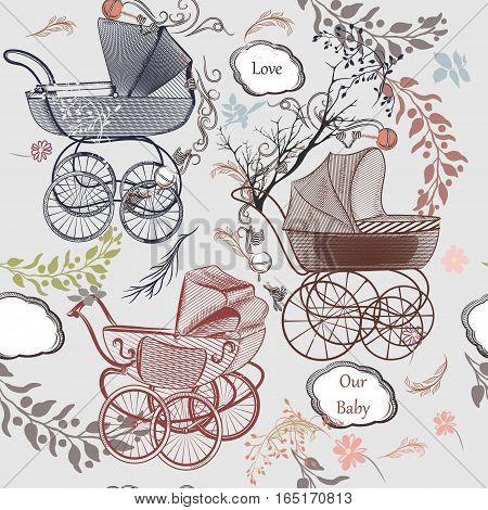 Baby fashion background with pram flourishes in vintage style
