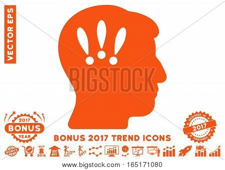 Orange Head Problems pictograph with bonus 2017 trend images. Vector illustration style is flat iconic symbols white background.
