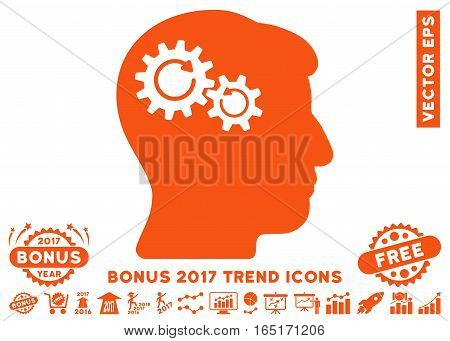 Orange Head Wheels Rotation icon with bonus 2017 year trend pictures. Vector illustration style is flat iconic symbols white background.
