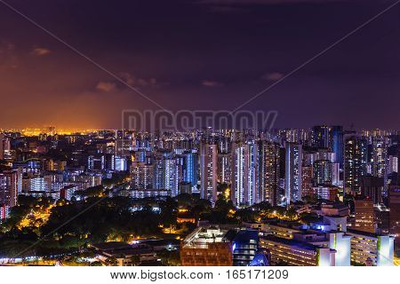 abstract night cityscape on twilight time and clear sky - can use to display or montage on product