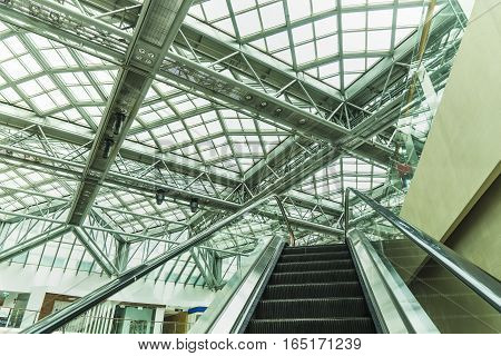 roof steel of department store and escalator - can use to display or montage on product