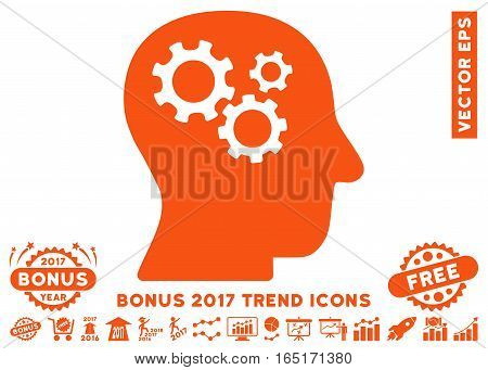Orange Intellect Gears icon with bonus 2017 year trend pictures. Vector illustration style is flat iconic symbols white background.