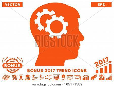 Orange Intellect Gears pictogram with bonus 2017 year trend pictograph collection. Vector illustration style is flat iconic symbols white background.