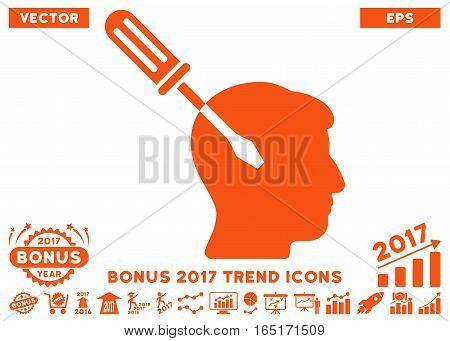 Orange Intellect Screwdriver Tuning pictograph with bonus 2017 year trend icon set. Vector illustration style is flat iconic symbols white background.