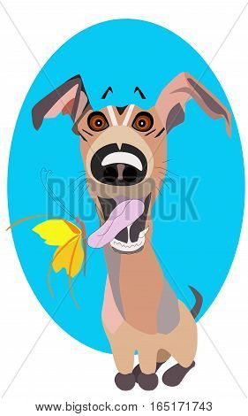 Joyful dog. Vector cartoon clip art illustration of a cute and happy puppy with a buttefly on its tongue.