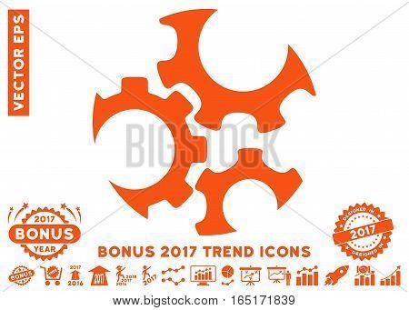 Orange Mechanics Gears pictograph with bonus 2017 trend pictograms. Vector illustration style is flat iconic symbols white background.