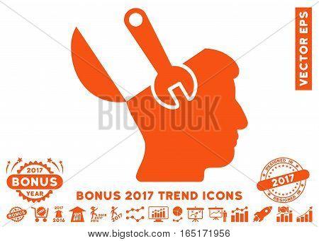 Orange Mind Wrench Surgery pictogram with bonus 2017 trend clip art. Vector illustration style is flat iconic symbols white background.