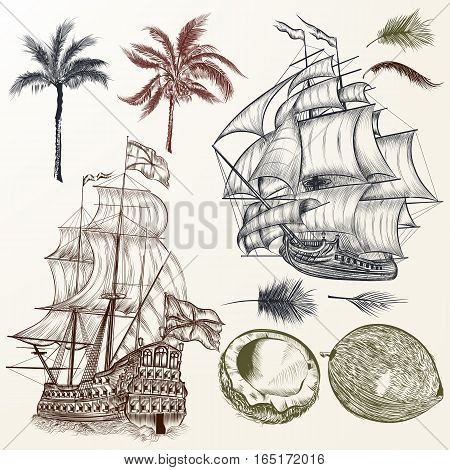 Collection of antique ships and palms in vintage style. Hand drawn design