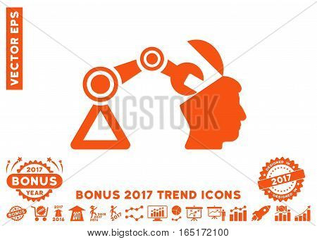 Orange Open Head Surgery Manipulator pictograph with bonus 2017 year trend pictures. Vector illustration style is flat iconic symbols white background.