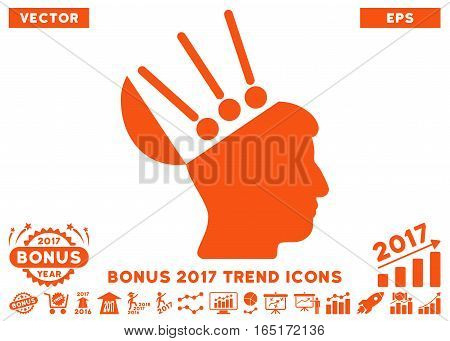Orange Open Mind Interface pictograph with bonus 2017 trend pictograph collection. Vector illustration style is flat iconic symbols white background.