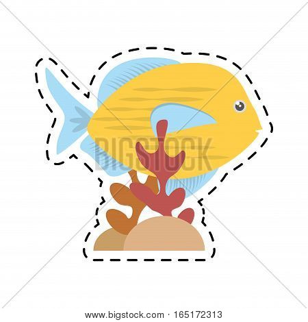 blue and yellow fish variety ocean coral vector illustration eps 10