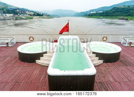 Modern cruise on the Yangtze River Three Gorges small swimming pool on deck.