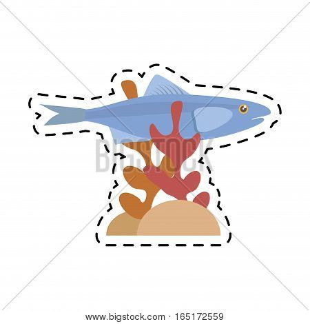 sardine sea food sealife coral vector illustration eps 10