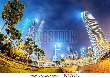 High-rises in Shanghai's new Pudong banking and business district