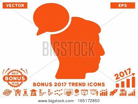 Orange Person Idea pictogram with bonus 2017 year trend clip art. Vector illustration style is flat iconic symbols white background.