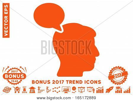 Orange Person Opinion pictogram with bonus 2017 year trend icon set. Vector illustration style is flat iconic symbols white background.