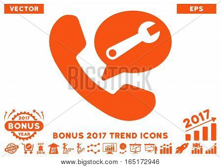 Orange Phone Service Message pictogram with bonus 2017 year trend pictograms. Vector illustration style is flat iconic symbols white background.