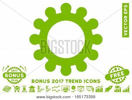 Eco Green Cog pictograph with bonus 2017 trend design elements. Vector illustration style is flat iconic symbols white background.
