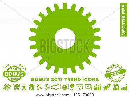Eco Green Cogwheel pictogram with bonus 2017 year trend symbols. Vector illustration style is flat iconic symbols white background.