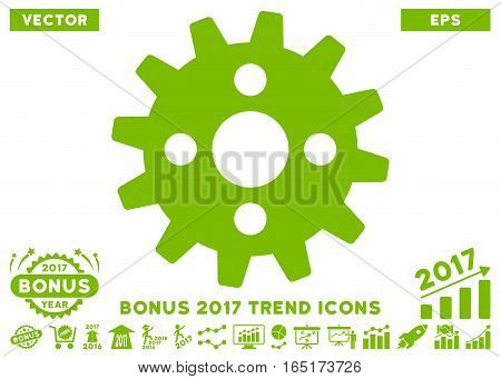 Eco Green Cogwheel pictogram with bonus 2017 trend symbols. Vector illustration style is flat iconic symbols white background.