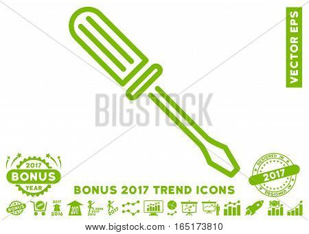 Eco Green Contour Screwdriver pictograph with bonus 2017 year trend clip art. Vector illustration style is flat iconic symbols white background.