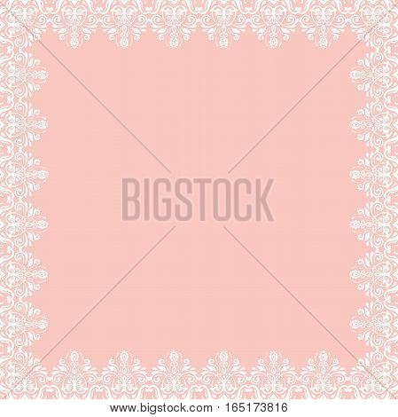 Classic square frame with arabesques and orient elements. Abstract fine ornament with place for text. Pink and white pattern