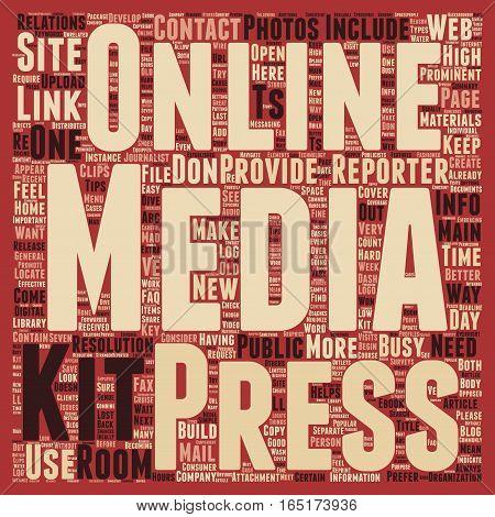 Build a Better Online Press Kit text background wordcloud concept