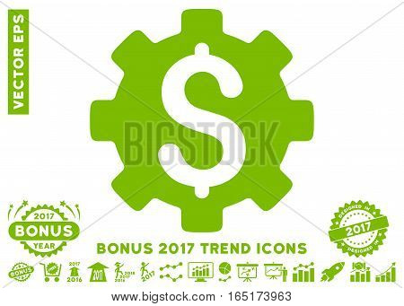 Eco Green Development Cost pictogram with bonus 2017 trend pictograph collection. Vector illustration style is flat iconic symbols white background.