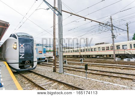 TOKYO JAPAN - OCTOBER 23 2016: Narita Express is a limited express train serves Narita International Airport from various Greater Tokyo Area stations