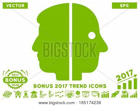 Eco Green Dual Face icon with bonus 2017 year trend clip art. Vector illustration style is flat iconic symbols white background.