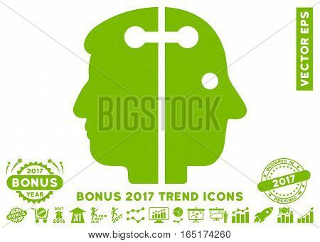 Eco Green Dual Head Connection icon with bonus 2017 trend images. Vector illustration style is flat iconic symbols white background.