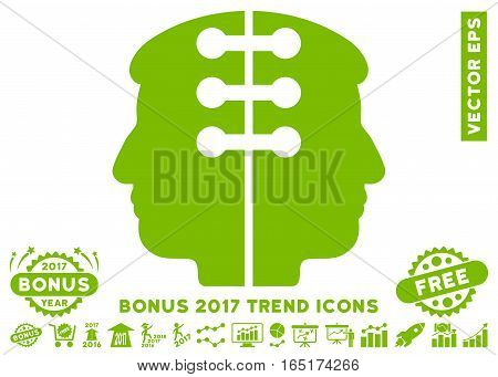 Eco Green Dual Head Interface icon with bonus 2017 year trend clip art. Vector illustration style is flat iconic symbols white background.