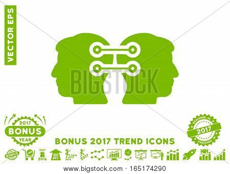 Eco Green Dual Heads Interface Connection pictogram with bonus 2017 year trend pictograms. Vector illustration style is flat iconic symbols white background.
