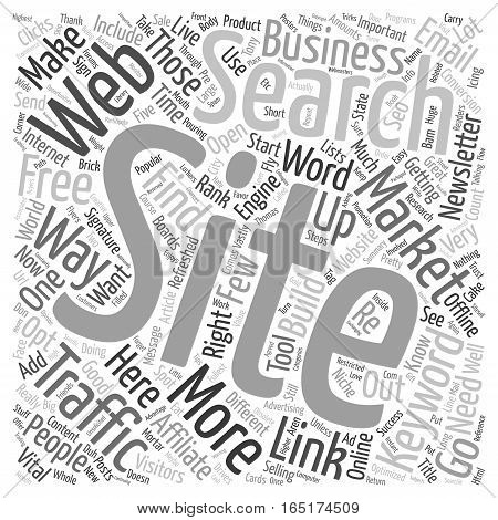Build Free Traffic To Your Websites text background wordcloud concept