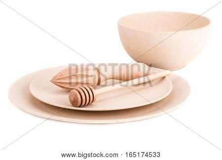 Empty bamboo bowl plates and items isolated on white background.